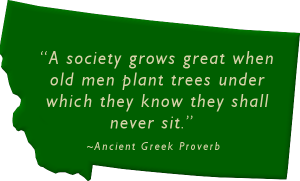 """""""A society grows great when old men plant trees under which they know they shall never sit."""" ~Ancient Greek Proverb"""